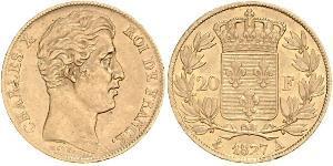 20 Франк Kingdom of France (1815-1830) Золото Карл X король Франції (1757-1836)