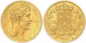 20 Франк Kingdom of France (1815-1830) Золото Карл X король Франции (1757-1836)