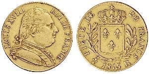 20 Франк Kingdom of France (1815-1830) Золото Людовик XVIII  (1755-1824)