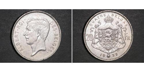 20 Франк Бельгія  Альберт I (король Бельгії)(1875 - 1934)