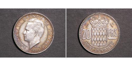 20 Франк Монако  Ренье III (князь Монако)