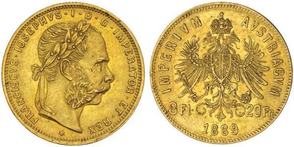 20 Франк / 8 Флорін Австро-Угорщина (1867-1918) Золото Франц Иосиф I (1830 - 1916)