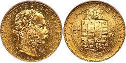 20 Франк / 8 Форинт Австро-Венгрия (1867-1918) Золото Франц Иосиф I (1830 - 1916)