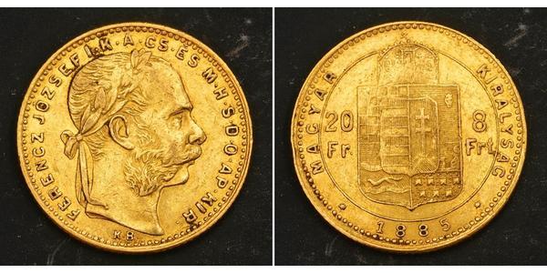 20 Франк / 8 Форінт Австро-Угорщина (1867-1918) Золото Франц Иосиф I (1830 - 1916)