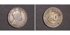 20 Цент Стрейтс-Сетлментс (1826 - 1946) Серебро Эдуард VII (1841-1910)
