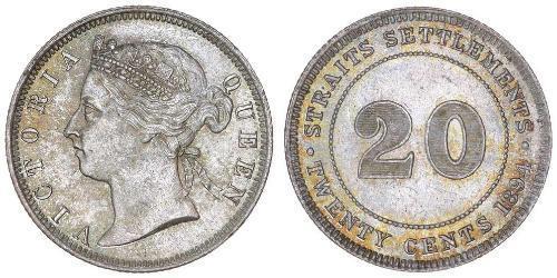 20 Цент Стрейтс-Сетлментс (1826 - 1946) Серебро Виктория (1819 - 1901)