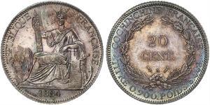 20 Цент Французский Индокитай (1887-1954) Серебро