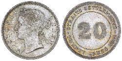 20 Цент Стрейтс-Сетлментс (1826 - 1946) Срібло Вікторія (1819 - 1901)