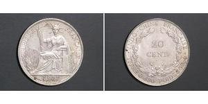 20 Цент Французький Индокитай (1887-1954) Срібло