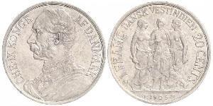 20 Цент / 1 Франк Дания Серебро Кристиан IX король Дании (1818-1906)