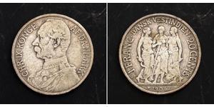 20 Цент / 1 Франк Данія Срібло Крістіан IX король Данії (1818-1906)