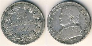 20 Baiocco Papal States (752-1870) Silver Pope Pius IX (1792- 1878)