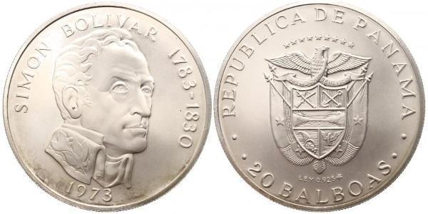 20 Balboa Panama Argent Simon Bolivar (1783 - 1830)