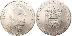20 Balboa Panamá Argento Simon Bolivar (1783 - 1830)