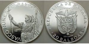 20 Balboa Panamá Argento Vasco Núñez de Balboa (1475 – 1519)