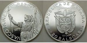 20 Balboa Panamá Plata Vasco Núñez de Balboa (1475 – 1519)