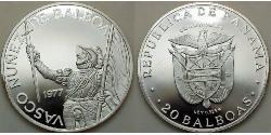 20 Balboa Republic of Panama Silver Vasco Núñez de Balboa (1475 – 1519)