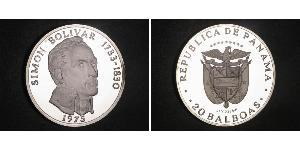 20 Balboa Republic of Panama Silver Simon Bolivar (1783 - 1830)