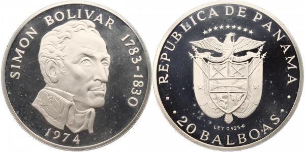 20 Balboa Republic of Panama Silver Simon Bolivar (1783 - 1830)