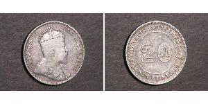 20 Cent 海峡殖民地 銀 爱德华七世 (1841-1910)