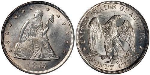 20 Cent 美利堅合眾國 (1776 - ) 銀/銅