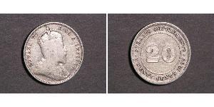 20 Cent Établissements des détroits (1826 - 1946) Argent Édouard VII (1841-1910)