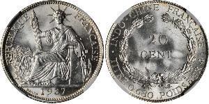 20 Cent Indochine française (1887-1954) Argent