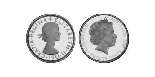 20 Cent Australia (1939 - ) Argento Elisabetta II (1926-)