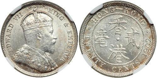 20 Cent Hong Kong Argento Edoardo VII (1841-1910)