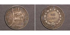 20 Cent Indocina francese (1887-1954) Argento