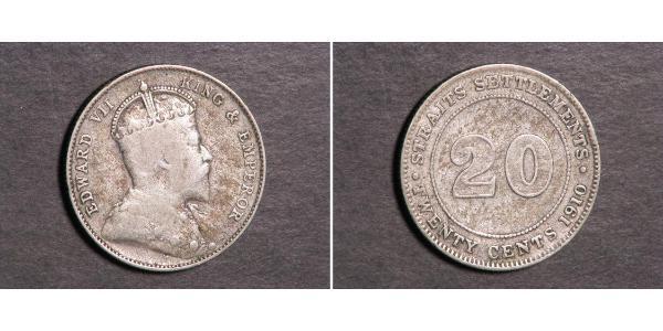 20 Cent Insediamenti dello Stretto (1826 - 1946) Argento Edoardo VII (1841-1910)