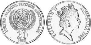 20 Cent Australia (1939 - ) Copper/Nickel Elizabeth II (1926-)