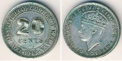 20 Cent Federated Malay States (1895 - 1946) Copper/Nickel George VI (1895-1952)