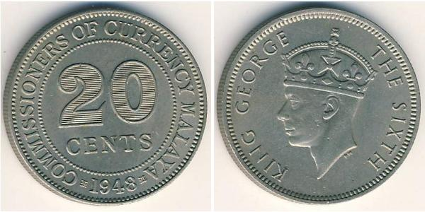 20 Cent Malayan Union (1946 - 1948) Copper/Nickel George VI (1895-1952)