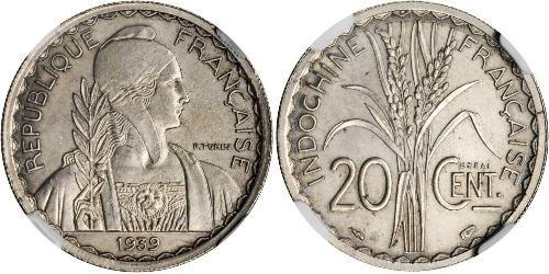 20 Cent Indochine française (1887-1954) Cuivre/Nickel