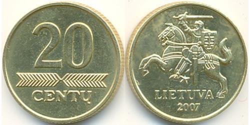 20 Cent Lituanie (1991 - ) Laiton
