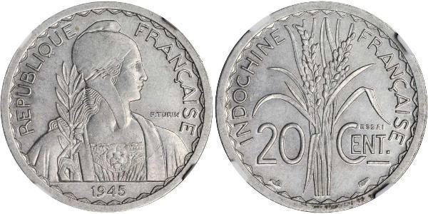 20 Cent Indochina francesa (1887-1954) Níquel/Cobre