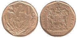 20 Cent Sudafrica Ottone/Acciaio
