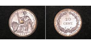 20 Cent Indochina francesa (1887-1954) Plata