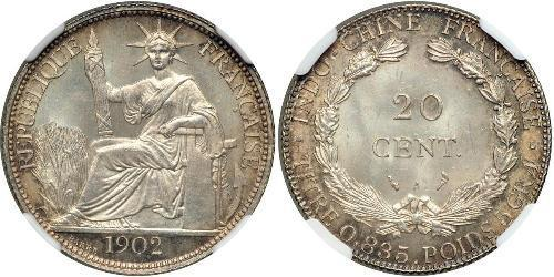 20 Cent Indochina francesa (1887-1954) Plata