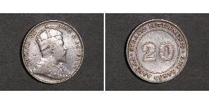 20 Cent Straits Settlements (1826 - 1946) Plata Eduardo VII (1841-1910)