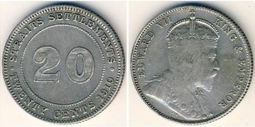 20 Cent Straits Settlements (1826 - 1946) Silber Eduard VII (1841-1910)