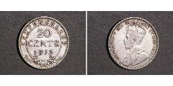 20 Cent Newfoundland and Labrador Silver George V of the United Kingdom (1865-1936)