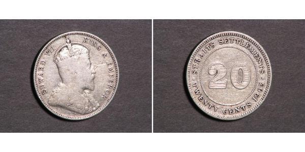 20 Cent Straits Settlements (1826 - 1946) Silver Edward VII (1841-1910)