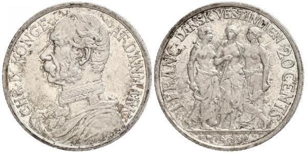 20 Cent / 1 Franc Denmark Silver Christian IX of Denmark (1818-1906)