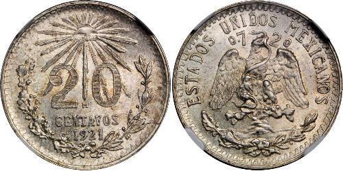 20 Centavo Mexique Argent