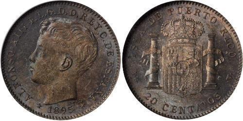 20 Centavo Porto Rico Argent Alfonso XIII of Spain (1886 - 1941)