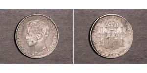 20 Centavo Porto Rico Argento Alfonso XIII of Spain (1886 - 1941)