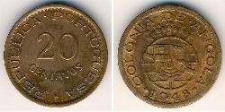 20 Centavo Portuguese Angola (1575-1975) Bronze