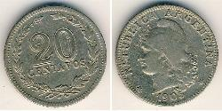 20 Centavo Argentine Republic (1861 - ) Copper/Nickel